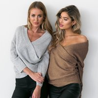 Wholesale knitting clothes for women - Women V Neck Sweaters Sexy Cross Design Off Shoulder Pullovers Colors Knitted Covers for Autumn Fashion Women Clothes