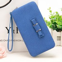 Wholesale bow phone cases - New style women's bow letter pencil case wallet Ms. Lunch box style purse Mobile Phone Bags Free Shipping 1330