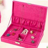 ingrosso grandi scatole di anello-3 colori Velluto Grande Capacità Studs Orecchini Anelli Collana Storage Case Jewelry 2017 NUOVO