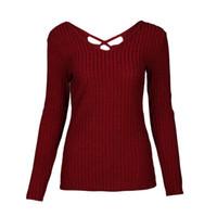 agujeros negros atractivos de la camisa al por mayor-Sexy agujero negro mujer blusa de punto de manga larga Casual camisas básicas Knit Wear Witner otoño 2017 WS4168U