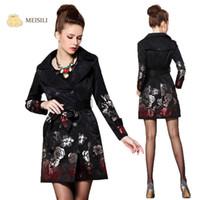 tranchée jacquard achat en gros de-Trench Coat for Women Automne Longue Floral Noir Manteau Jacquard avec Ceinture Turn-Down Col Coupe-vent Slim Femmes Outwear