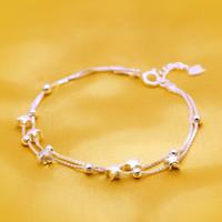 Wholesale Hand Cuffs - 2018 (In stock)Standard Silver Star Bracelet double deck Pentagram first jewelry hand chain woman