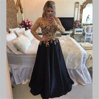 marineblaues arabisches kleid großhandel-Gold Spitze Applizierte Perlen Satin Abendkleider Marineblau Lange Ärmel Abendkleider Lang Arabisch Dubai Abend Party Kleid