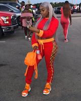 encaje chándal al por mayor-Red Bodycon Ropa deportiva Manga larga Chándales de otoño Mujeres Dos piezas Overoles Lace Up Playsuits Streetwear Trajes más vendidos