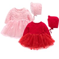 5bb0764b2d83 Boutique Lace Flowers Baby Girl Dress Matrimonio manica lunga compleanno 1  anno di Natale Abiti Principessa Baby Girl Clothes + Hat