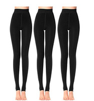 Wholesale womens warm pants - Womens Fashion Winter Black Pants Warm Velet Stretchy High Waist Leggings Elastics Pantihose 3 pcs lot