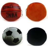 Wholesale coin purse balls - Creative Coin Purse Football Basketball Novelty Modeling 3D Print Cute Ball Zipper Plush Coin Purse mini wallet LJJG11