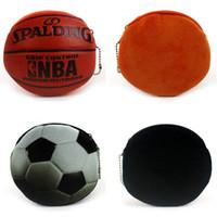 ingrosso novità della borsa-Creativo portamonete calcio basket novità modellazione 3d stampa carino palla cerniera portafoglio della moneta della peluche mini portafoglio LJJG11