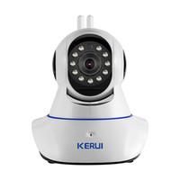 Wholesale gsm home intruder alarm system - KERUI Wireless WiFi HD IP Camera WiFi GSM Home Intruder Burglar Alarm System Security 720P 3.6mm len GSM Surveillance Device