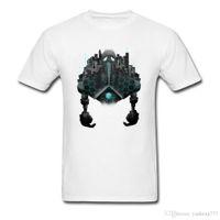robô cinzento venda por atacado-Impressão dos desenhos animados O Pescoço Tshirt Para O Estudante Bem Escolhido Camisas Presente Megalítico Cidade Do Menino Anime Robot T Shirt Cinza Curto T-Shirt