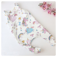 Wholesale cartoon body suit - 2018 Summer New Unicorn Cartoon Pattern White Cotton Sleeveless Baby One-piece Rompers Body Suits Kids Jumpsuits 4 sizes a lot