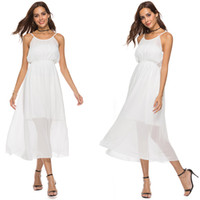 3e9c6c9a3c5 Office Wear Women with A Line High Waist White Chiffon Spaghetti Strap Work  Dress for Women Ladies Dresses formal summer sundress