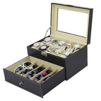 Wholesale grids sunglasses resale online - Luxury Double Layer plus Grids Watches Sunglasses Display Jewelry Organizer Watch Glasses Display Storage Box PU Leather Caket