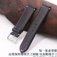 weiche lederarmbänder großhandel-Handgearbeitetes Leder Kalbslederarmband 18mm 19mm 20mm 22mm schwarzes dünnes Armband Uhrenarmband Uhrenarmband für DW