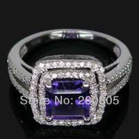 ingrosso anelli di fidanzamento ametista anelli bianchi-Vintage Princess 7mm 14K Solid Gold Diamond Anello di fidanzamento con ametista, 585 White Gold Amethyst Anello in vendita 2T018 S923