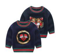 saltadores de bebé largos al por mayor-Nueva marca de ropa para niños bebés primavera otoño manga larga suéter bordado niño niño tigre patrón invierno puente envío gratis