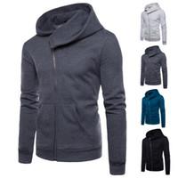 hoodies do estilo britânico venda por atacado-Venda quente Homens Hoodies Estilo Britânico Oblíqua Com Zíper Moletons Com Capuz Europa e América Slim Fit Sportswear Hoodies