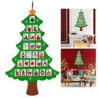 calendarios de adviento al por mayor-Colgante de fieltro Calendario del árbol de Navidad Cuenta regresiva para el calendario de Adviento de Navidad