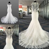Wholesale wedding dresses online - Vintage Lace Beads Mermaid Wedding Dresses Temperament Round neck Neck Sleeveless With Bridal Long Train Wedding Gowns
