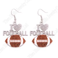 Wholesale favorite earrings - Apricot Fu Fans Favorite Sports Pendent Earring Inlaid in I LOVE FOOTBALL Shining Crystal Hook Earrings Gift Jewelry