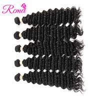 cheveux mongols pour le tissage achat en gros de-Rcmei Mongolian Vague Profonde Weave Bundles Bundles 5pcs Naturel Balck Machine Double Trame 8-28inch No Tangle 100% Human Hair 5 Faisceaux