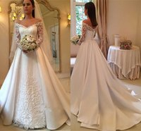 Wholesale long sleeve drop back dress - 2018 Elegant White A-Line Wedding Dresses Off-Shoulder Long Sleeve Lace Appliques Sexy Back Button Bridal Dresses Charming Wedding Gowns