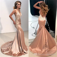 Wholesale Sexy One Pieces Party Wear - Sexy V Neck Backless Lace Prom Dress 2018 Mermaid Spaghetti Straps Long Evening Party Gowns Appliques Fitted Cheap Bridesmiad Wears