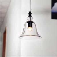 cloches en verre antique achat en gros de-Suspension industrielle industrielle avec abat-jour en verre clair suspendu E27 Bell type lustres anciens petite cloche