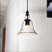 klare glasschattierungen großhandel-Traditional Industrial Clear Glass Shade Pendelleuchte Hängeleuchte E27 Glockentyp antike Kronleuchter kleine Glocke