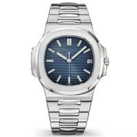 neue art und weise führte uhrfarben großhandel-Heißen Verkaufs-Uhr-neue-automatische Machincal Nautilus 40mm Blau Dial Armbanduhr 5711 Edelstahl-Glas-Rückherrenuhr