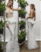 Wholesale custom made wedding dresses nigeria for sale - Group buy Mermaid White Organza Beach Wedding Dresses Nigeria Sheer Top Backless White Bridal Gowns