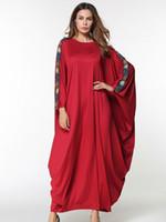 müslüman uzun kollu maxi elbise toptan satış-Artı Boyutu Orta Doğu Müslüman Uzun elbise kadın Moda nakış Elbise yarasa kollu Ulusal tarzı Müslüman elbisesi zarif Gevşek maxi Elbise