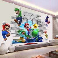 garçons stickers muraux chambres d'enfants achat en gros de-décoration 3D dessin animé Wall Art Stickers Muraux Super Mario Bros Boy Kids Room Art Mural Decal Stickers enfants Nursery Home Décor
