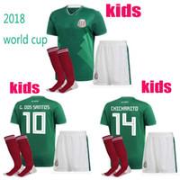 Wholesale G Sock - new 17 18 kids World Cup Soccer jersey Kits socks Mexico home green CHICHARITO M FABIAN G DOS SANTOS 2017 2018 Mexico child Football shirt