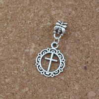 Wholesale big hole crosses for sale - Group buy 100pcs Dangle Ancient silver Open flower circle cross Charm Big Hole Bead Fit European Charm Bracelet Jewelry x32