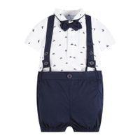 ingrosso set di jumper del neonato-Estate Gentleman Baby Boy Abbigliamento Set neonato T-shirt Top + Ponticelli Shorts Set Beibei Festa di compleanno Costumi 2 pezzi / set