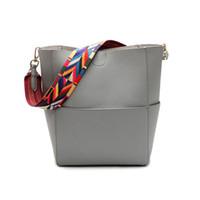 Wholesale large leather shopping tote - Luxury Brand Designer Bucket bag Women Leather Wide Color Strap Shoulder bag Handbag Large Capacity Crossbody bag For Shopping