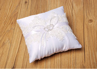 Wholesale beaded lace top - Top Sale Lace Square Wedding Ring Pillows Cheap Sale Rhinestone Beaded Ring Pillow Wedding Supplier Favors