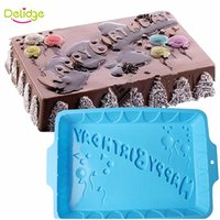Wholesale Happy Birthday Mold - Delidge 1 pc Square Shape Happy Birthday Letter Cake Mold Silicone DIY Big Size Birthday Party Bread Muffin Cake Mold Moulds