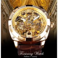 leder uhrenband blume großhandel-Forsining 2018 Königliche goldene Blumen-transparente Brown-Leder-Band-Mann-kreative Uhr-männliche Uhr-wasserdichte mechanische Armbanduhr