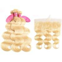 613 fermeture frontale blonde achat en gros de-Perstar 613 Blonde Brésilienne Vague De Corps Avec Frontale de Cheveux Humains Oreille à Dentelle Fermeture Frontale Avec Des Bundles Remy 613 Cheveux