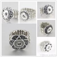 Wholesale Flexible Heart - Hot sale Noosa crystal Elegant Round Metal snap button rings trendy flexible fit 12MM snap buttons DIY fittings wholesale women R005