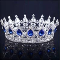 coroa nupcial azul venda por atacado-2019 Princesa Cristais Crown casamento Liga nupcial Tiara Barroco Rainha Rei Crown Limpar Royal Blue Red Rhinestone nupcial Tiara Coroa