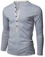paçavra gömleği toptan satış-Erkek Henley Gömlek Popüler Tasarım Tee Uzun Kollu Şık Slim Fit Tops Düz T-shirt Düğme Placket Casual Erkek T-Shirt