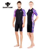 Wholesale Silver Color Suits For Men - HXBY Short Sleeve Swimwear Women One Piece Swimsuit Men Competittion Swimming Suit For Women Bathing Suits Women's Swimsuits