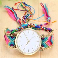 relojes de amistad al por mayor-Pulsera de la amistad de las mujeres de la moda relojes bohemio hechos a mano cuerda trenzada relojes de cuarzo Dropshipping