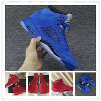 Wholesale Blue Reflective Fabric - 2017 New Air Retro 5 V Raging Bull Red Suede Blue Reflective Men Basketball Shoes Top Quality Retros 5s Sports Sneakers Size 41-47
