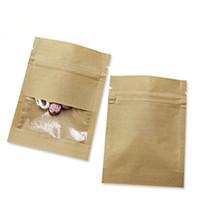 sacos de comida de papel kraft venda por atacado-7X9 cm Pequeno Engrosse Branco Marrom Saco de Papel Kraft Ziplock Zipper Pouch com Janela Clara Para O Chá de Café Lanches Doces De Armazenamento De Alimentos