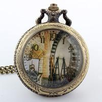 diseño de la cadena india para los hombres al por mayor-Moda Ferris Wheel bronce mujeres cara abierta reloj de bolsillo de cuarzo colgante con collar de cadena para mujeres mujeres regalos unisex