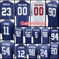 Wholesale apple men - New York Giants custom jerseys Men's #23 Corey Webster 98 Damon Harrison 24 Eli Apple 88 Engram 20 Jenkins 90 Pierre-Paul jersey